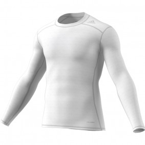 Hockey clothes - Thermo clothes - kopen - Adidas Tech Fit Base Long Sleeve Tee men white