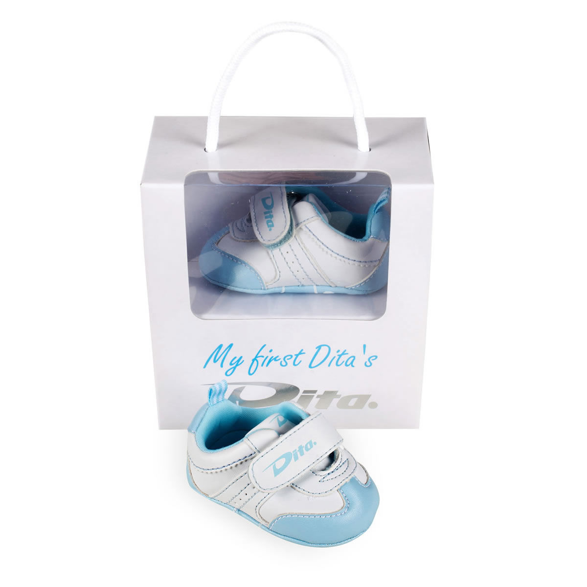 """Dita Babyshoes """"My First Dita's"""" Lightblue. Normal price: 17.6. Our saleprice: 14.95"""